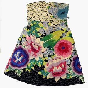 Moulinette soeurs printed lotus strapless dress